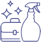 a spray bottle and tool kit logo that is sparkling 清洁
